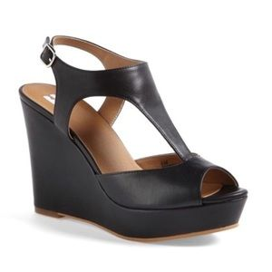 BP Shoes Black Wedge Heels Women Size 8